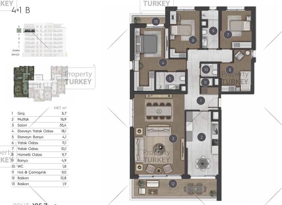 Site plans of the 4+1 villa