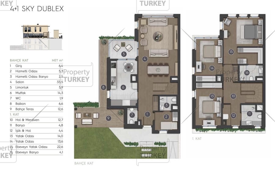 Site plans of the 4+1 apartments