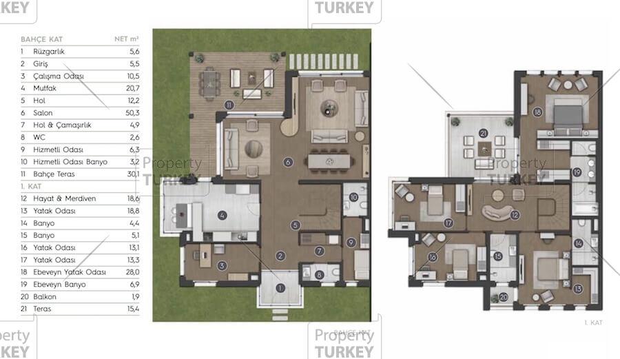 Site plans of the 5+1 villa