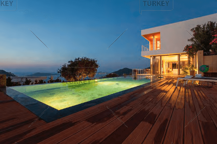 Huge pool deck excellent design for Yalikavak villa