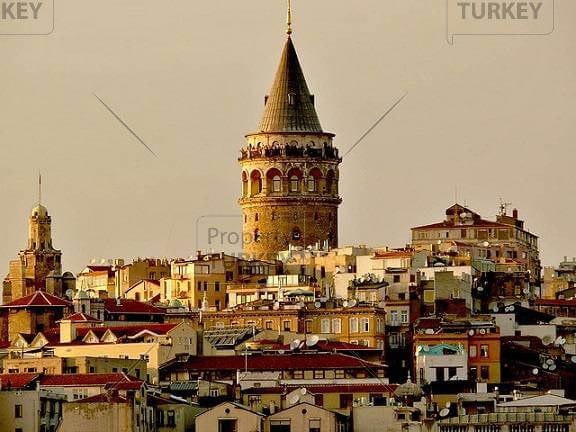 Galata Tower is across the Golden Horn