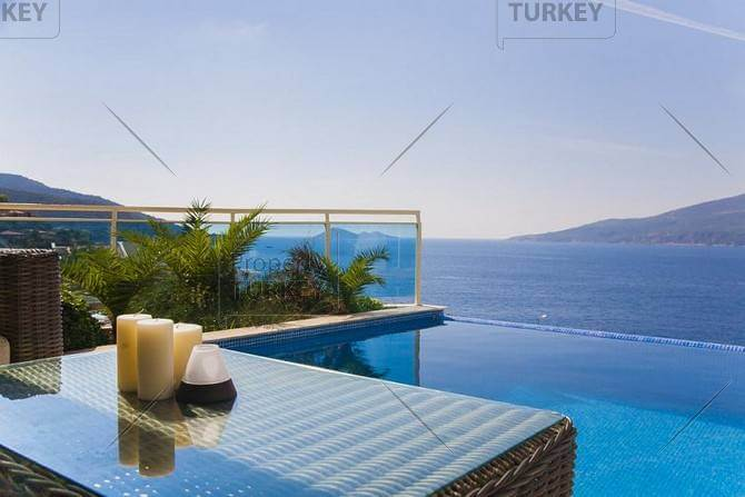 Infinity pool with superb Kalkan bay view