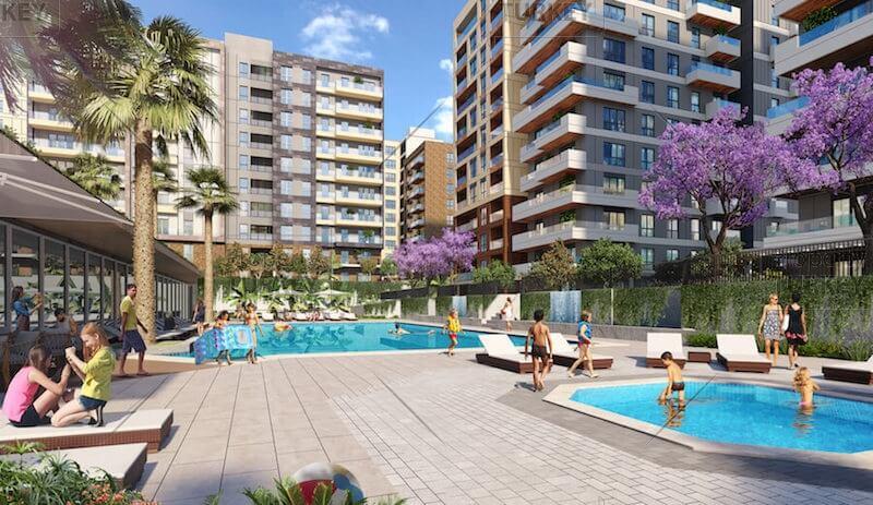 Swimming pool sunbathing areas