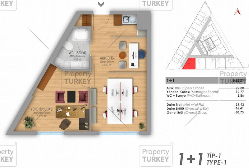 Site plans of the 1+1 studio