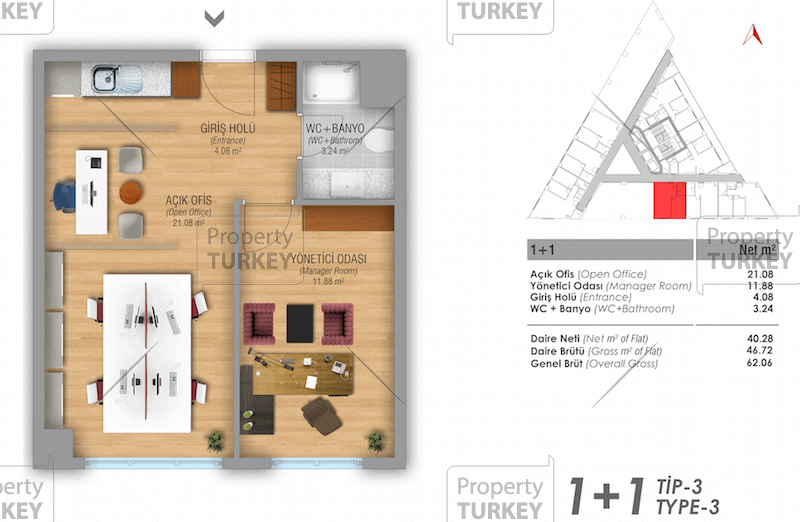Site plans of the 1+1 home offices
