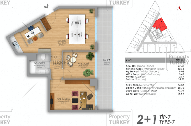 Site plans of the 2+1 home office