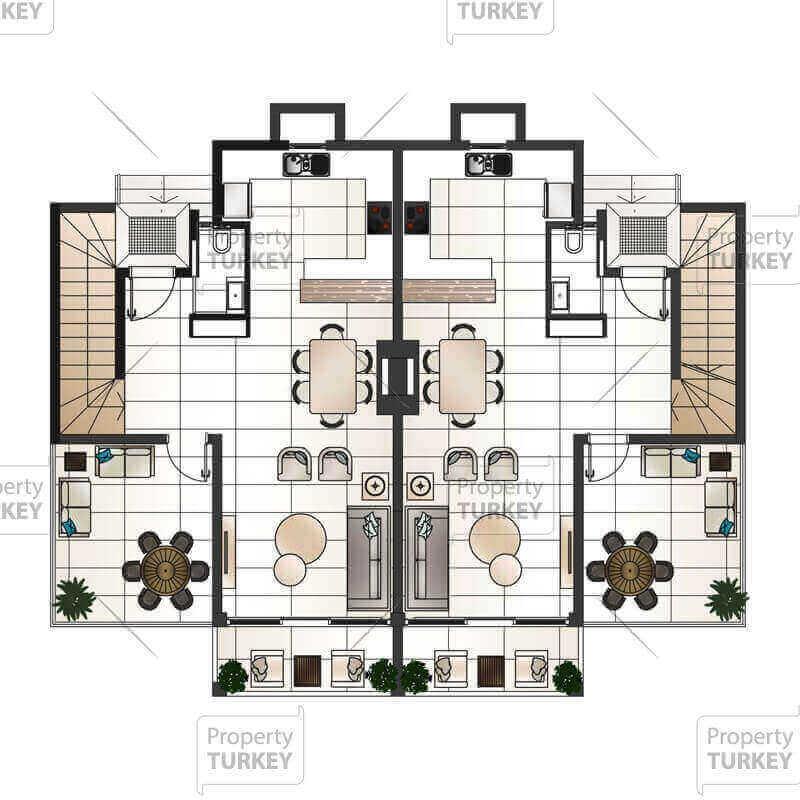 Site plans of the duplex 3+1 apartment