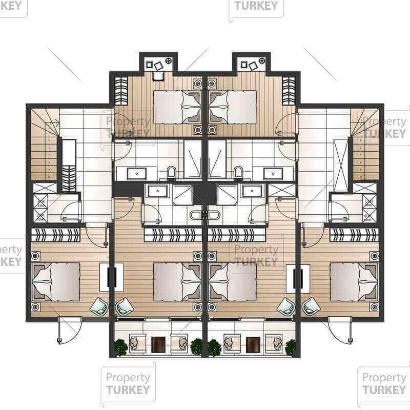 3+1 duplex apartments second floor site plans