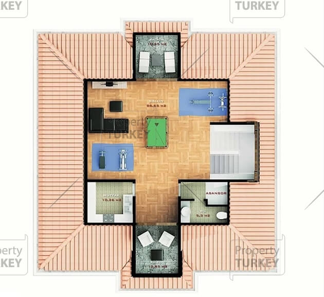 Villas top floor site plans