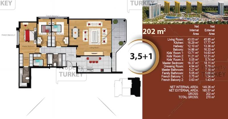 Site plans of the 3,1+1 apartment