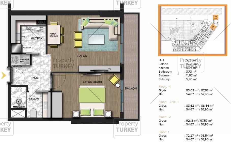 Apartments 1+1 site plans