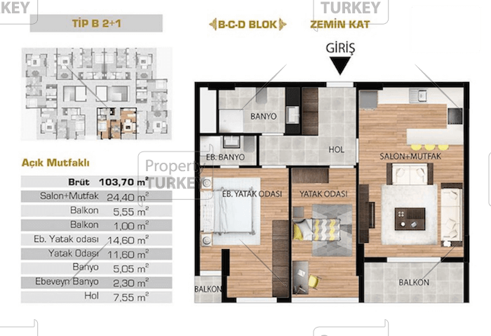 Layout of the 2+1 apartment