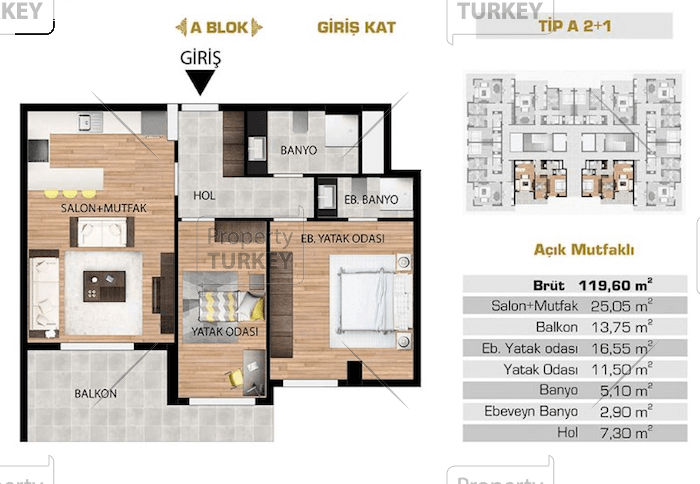 Site plans of the two bedrooms and one bathroom apartment