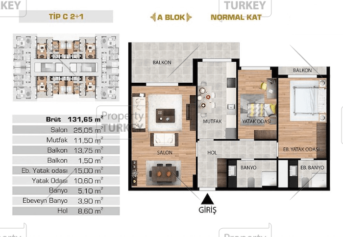 Site plans of the 2 bedroom and 1 bathroom apartment
