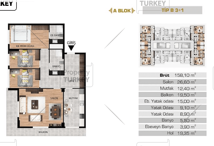 Layout of the three bedrooms and one bathroom apartment