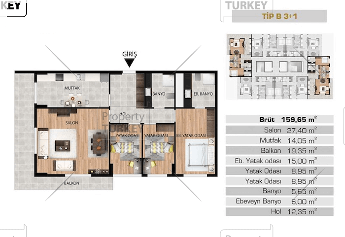 Layout of the 3+1 apartment