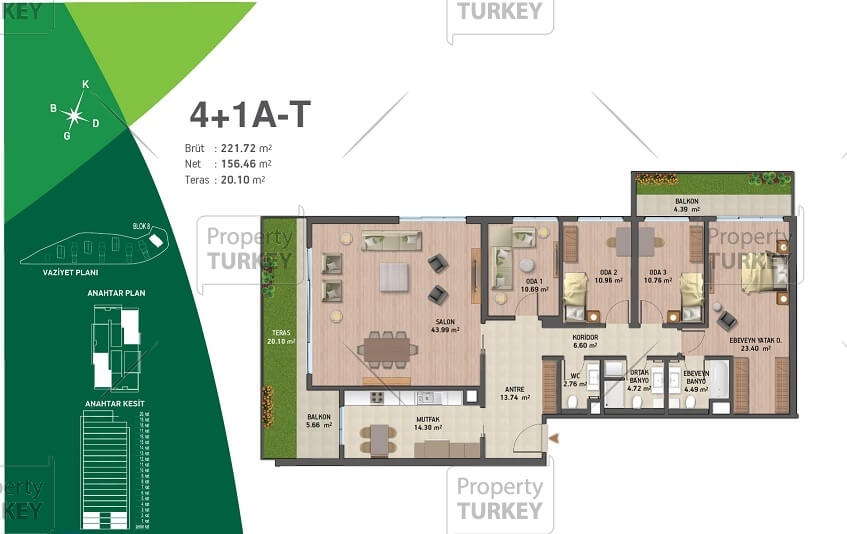 Site plans of the four bedrooms apartments