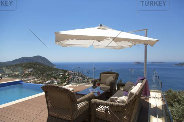Lovely pool terrace with ample space and great view in Kalkan