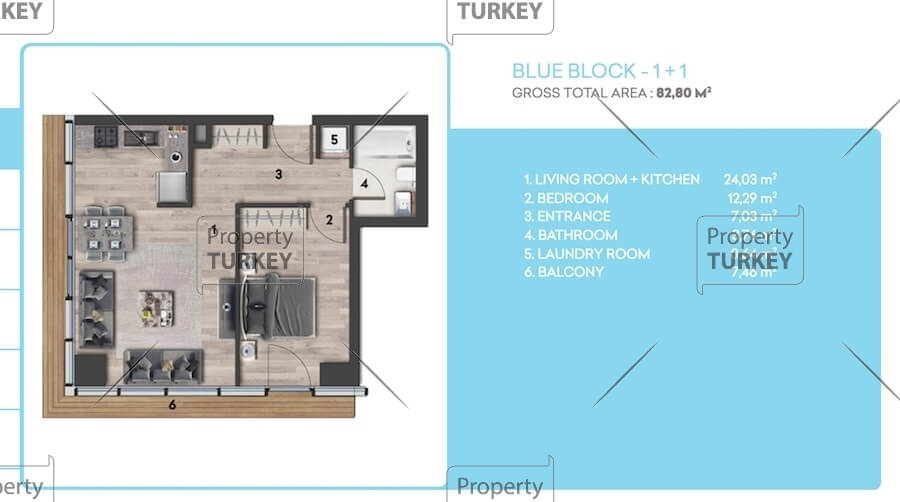 Site plans of the 1+1 apartment