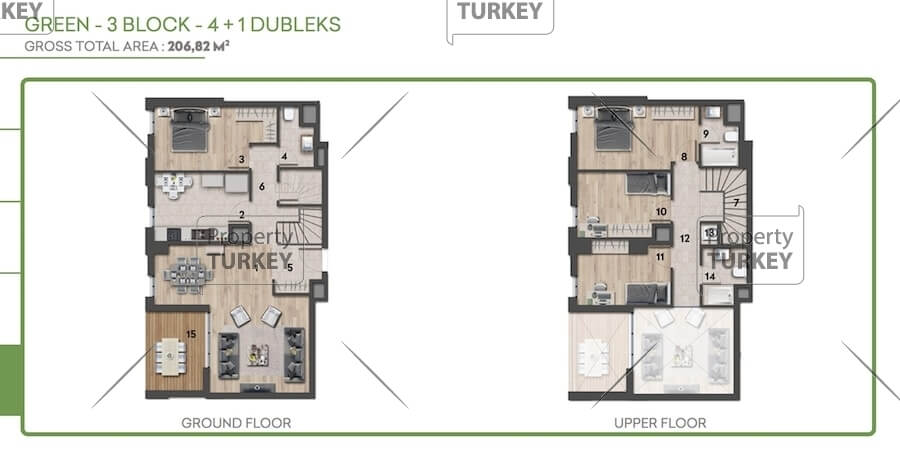 Layout of the 4+1 apartment