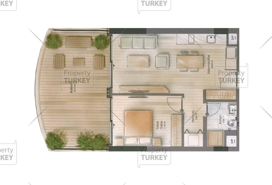 1+1 apartment site plans