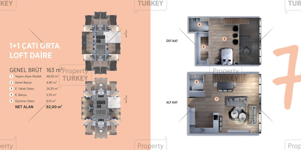 One bedroom apartments layout