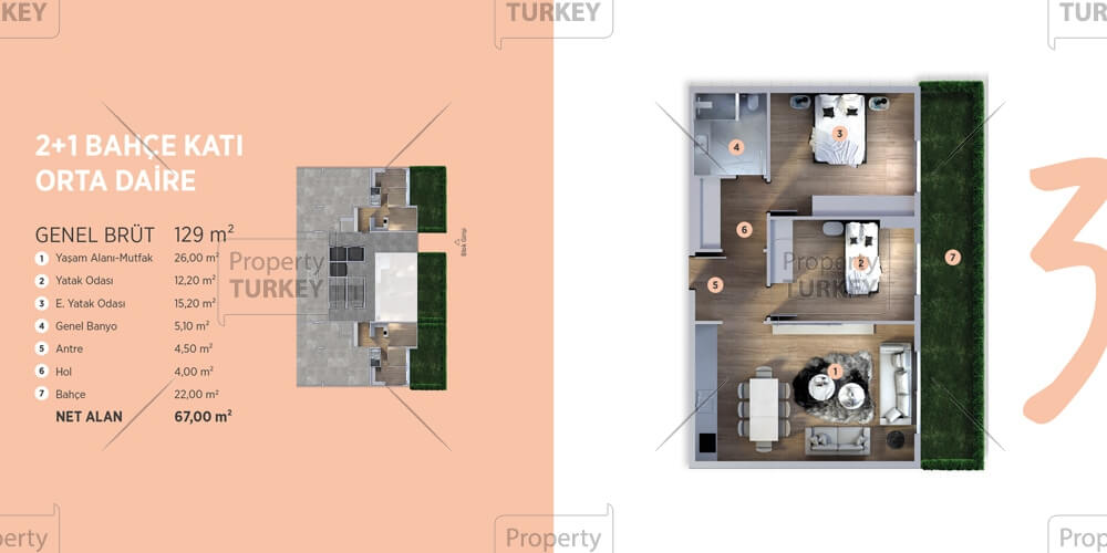 Site plans of the 2 bedrooms apartments