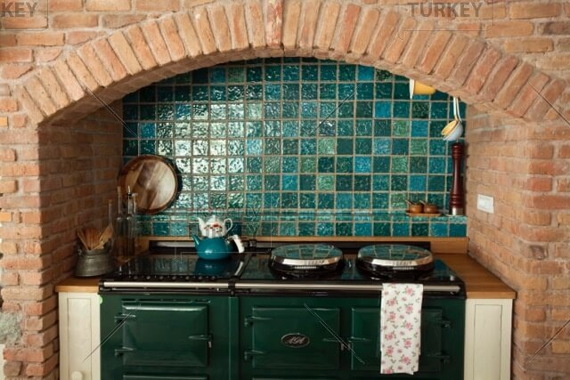 Kitchen with tiled walls