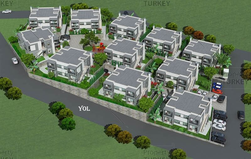 Sea view modern apartments for sale in turgutreis for Apartment complex layout