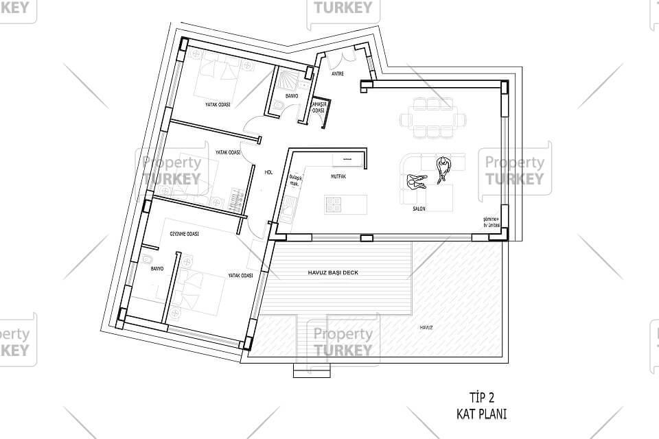 Type 2 bungalow style villa Floor Plan
