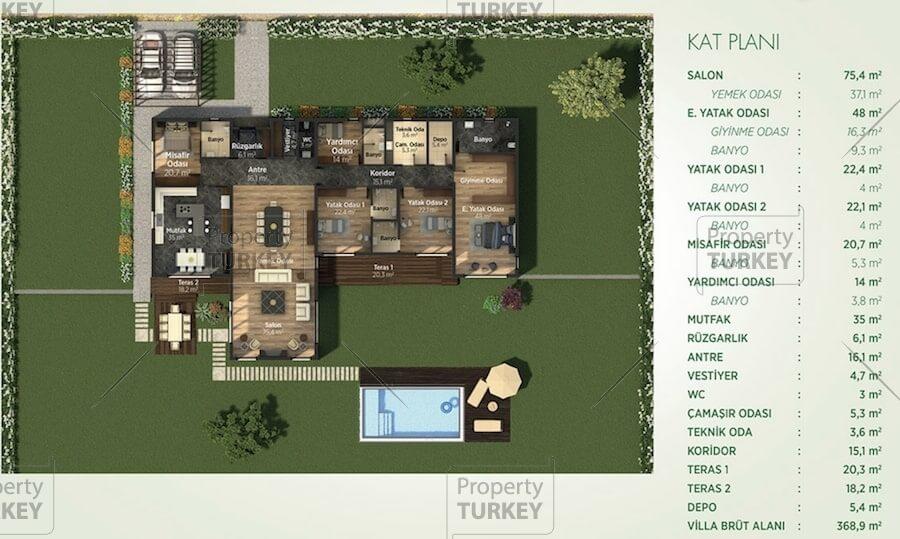 5 bedrooms villas site plans