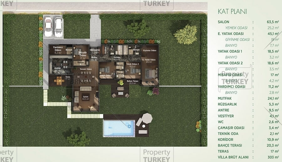 Site plans of the 4 bedrooms villa