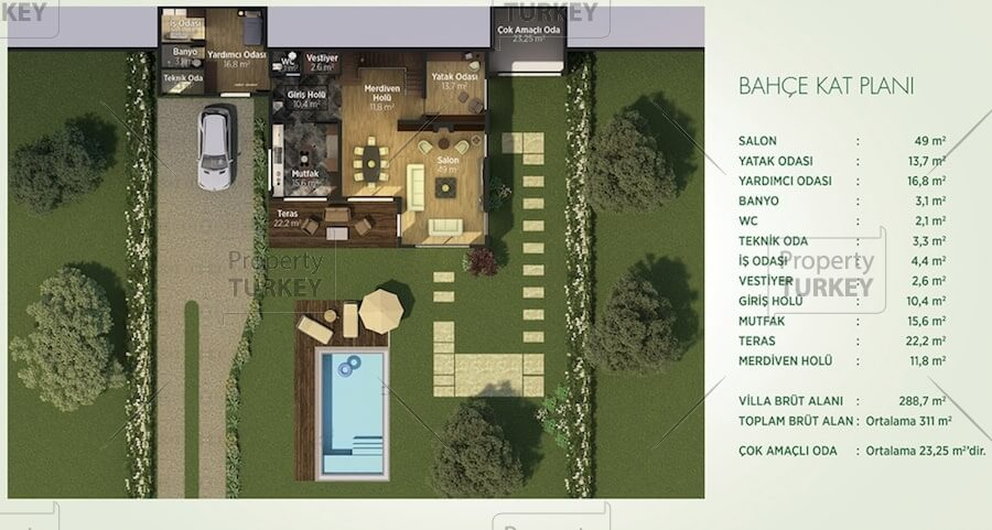 Site plans of the duplex villa