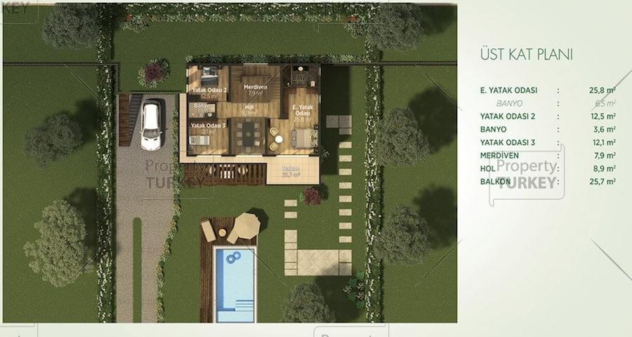 Site plans of the first floor duplex villa