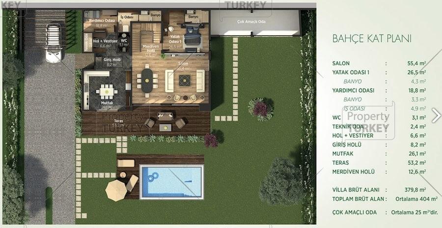 Site plans of the 5 bedrooms duplex villa