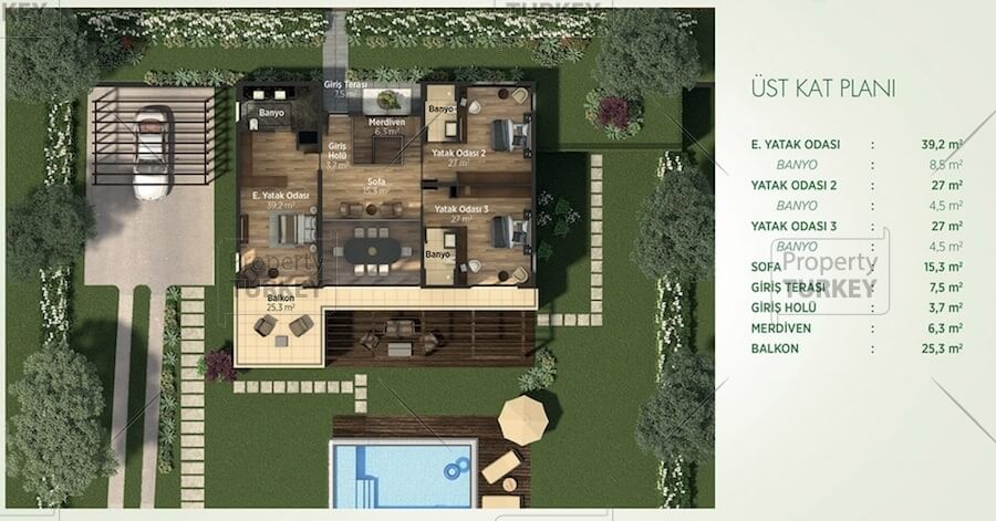 Site plans of the villa