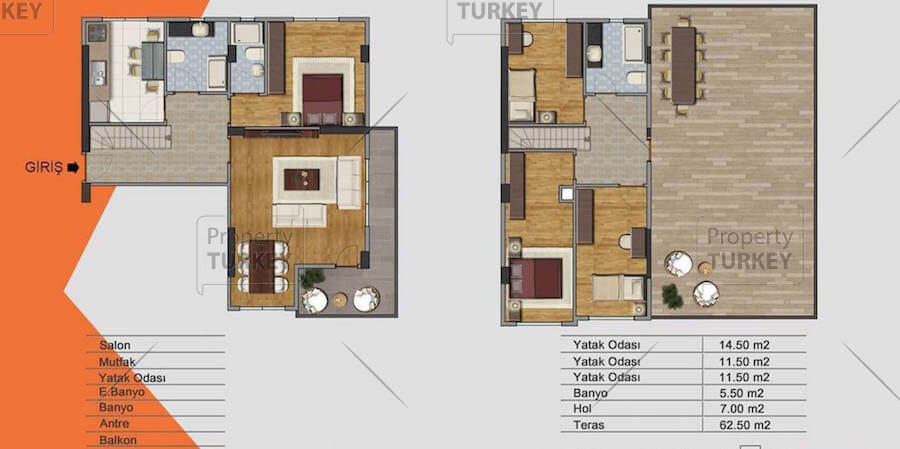 Site plans of the suplex 3 bedrooms apartment