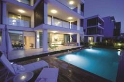 Swimming pool modern villa on the beach