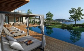 Poolside of villa at Mandarin Oriental Bodrum Turkey