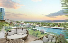 Relaxing areas next to the pool
