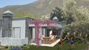 Rustic stone Bodrum bungalows for sale surrounded by nature