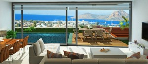 Living room marina view Palmarina Bodrum